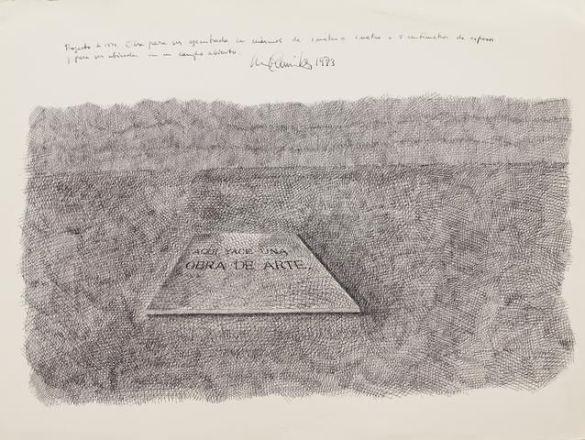Luis Camnitzer - Aquí yace una obra de arte (1973) - Ink on paper
